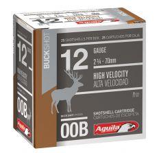 "Aguila Shotshell 12ga #00 BUCKSHOT 2-3/4"" 25/BOX 1275ft/s"
