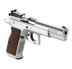"""IFG Tanfoglio Defiant Limpro Large Frame 9mm 4.8"""" (2) 17rd - Silver / Wood Grips"""