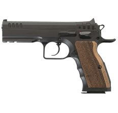 """IFG Tanfoglio Defiant Stock I Small Frame 9mm 4.45"""" (2) 16rd - Black / Wood Grips"""