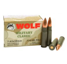 Wolf Steel Case Military Classic 7.62x39 Rifle Ammunition 124 Grain Jacketed Soft Point 1000rd Case