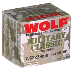 Wolf 7.62x39mm 124gr HP Ammunition - 1000rd CASE