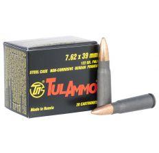 Tula Ammo 7.62x39 122gr FMJ Steel Case Non-Corrosive Berdan Primed - 20rd Box