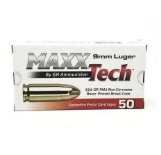Maxxtech 124gr 9mm FMJ Brass Case 1000rd CASE