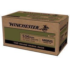 Winchester USA 5.56 M855 62gr FMJ Green Tip - 600rd CASE (4 boxes/150rds)