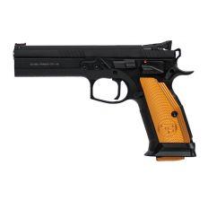 "CZ 75 Tactical Sport .40 S&W  5.23"" (3) 17rd Manual Safety - Black / Orange Grip"