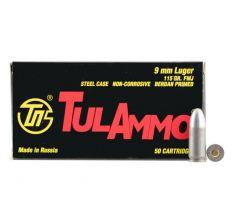 Tula Pistol Ammunition  - Tula 9mm Luger 115gr FMJ Steel Case 50/bx