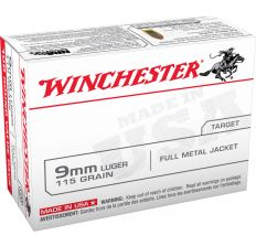 Winchester USA Ammo 9mm 115gr FMJ - 100rd Box
