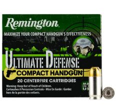 Remington Ultimate Defense 380 AUTO 102GR Bonded Jacketed Hollow Point 20rd Box for Compact Handguns