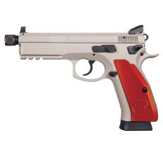 "CZ 75 SP-01 Tactical 9mm 18rd 5.21"" Threaded Barrel Night Sights Urban Gray Finish Aluminum Red Grips"