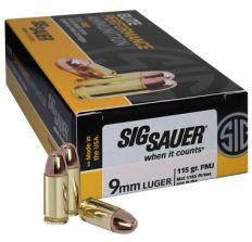 Sig Sauer 9mm Luger Ammo 115GR FMJ 50rd Box