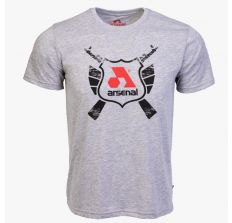 Arsenal Men's Gray Cotton Relaxed Fit Classic T-Shirt - XL