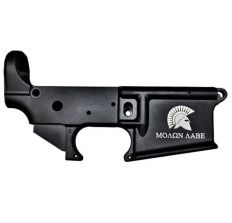 Anderson AM-15 Forged Stripped AR15 Lower Receiver - Black Spartan Molon Labe Logo Retail Packaging
