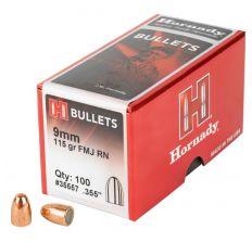Hornady FMJ-RN 9MM .355 115GR Bullets -100CT