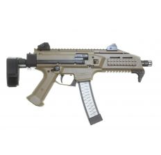 CZ SCORPION EVO 3 S1 9mm FDE Pistol 7.72'' barrel threaded 1/2X28 (2) 20rd mags 91352 with SB Tactical PDW Collapsible Brace 32rd Scorpion Magazine