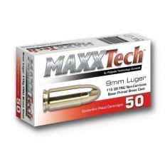 Maxxtech Ammunition 9mm 115gr FMJ Brass Cased 1000rd Case