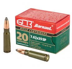 BARNAUL 7.62X39 RIFLE AMMUNITION 125 GRAIN SP SOFT POINT LACQUERED STEEL CASING 500RD CASE