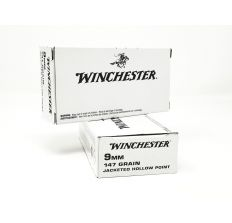 Winchester 9mm White Box 147gr Jacketed Hollow Point 50rd Box Law Enforcement Overrun