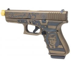 "Glock 19 Gen 4 9mm 15rd Compact Fixed Sights 4.6"" TiN Threaded Barrel US Made Trump Edition"