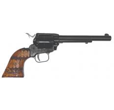 "Heritage Rough Rider .22LR SA Revolver 6.5"" 6rd - Black W/ Whiskey Barrel Grip"