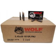 Wolf Steel Case 5.45x39 Rifle Ammo- 60gr FMJ 1000rd Case
