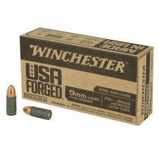 Winchester Ammo USA Forged 9mm 115gr FMJ Steel Shellcase - 500rd Case
