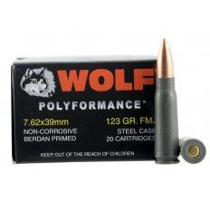 Wolf Steel Case 7.62X39mm Rifle Ammunition 123 Grain FMJ 1000rd Case