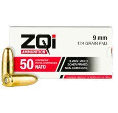 ZQI 9mm NATO Handgun Ammunition 124 Grain Brass Cased FMJ 50rd Box